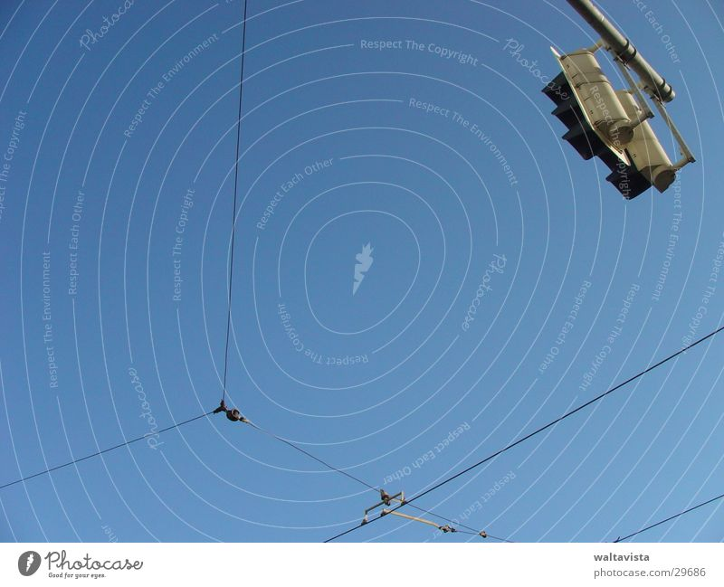 Sky Blue Street Transport Cable Wire Traffic light Mixture Tram Overhead line