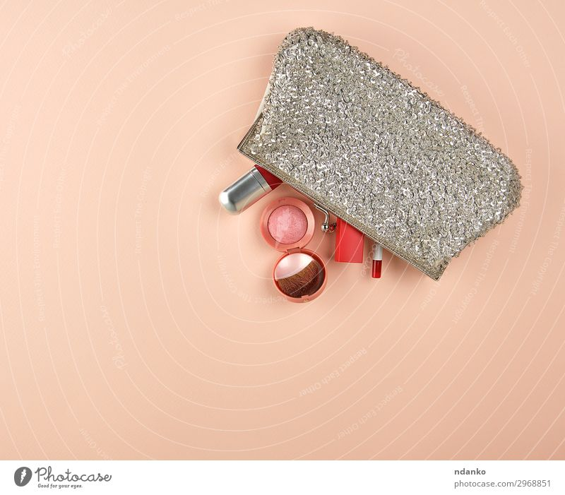 open silver clutch and cosmetics fell out of the middle Style Beautiful Cosmetics Make-up Lipstick Rouge Fashion Accessory Hip & trendy Gray Pink Red Elegant