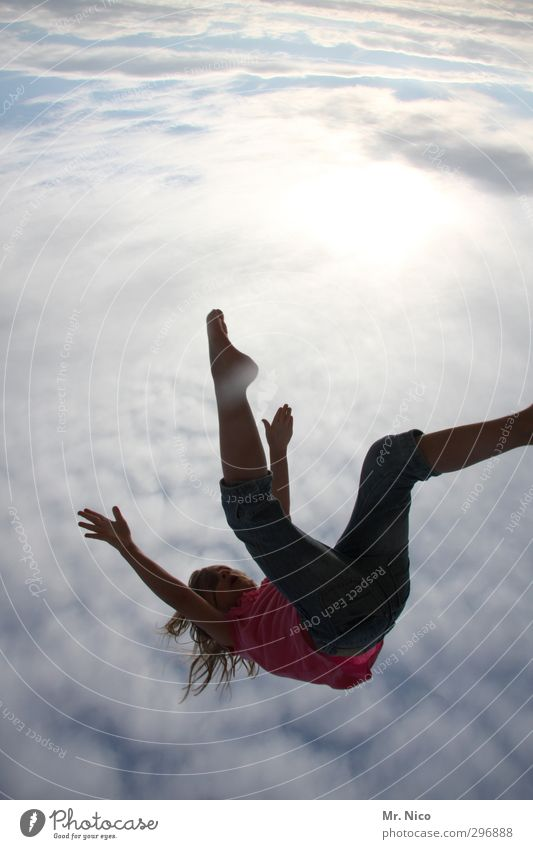 red bull Summer Feminine Girl Infancy Body Arm Legs 1 Human being 8 - 13 years Child Environment Sky Clouds To fall Flying Jump Free Crazy Freedom Outstretched
