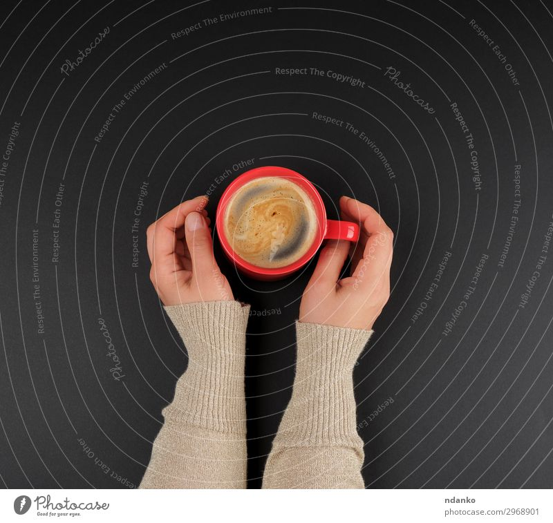 red creameric cup with black coffee in female hands Nature Colour Beautiful Red Hand Black Eating Natural Above Design Decoration Fresh Coffee Beverage