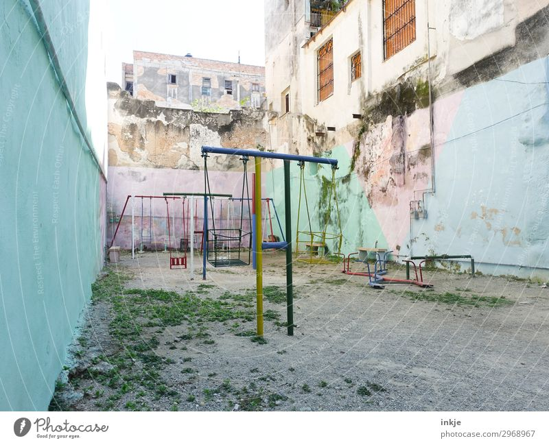 Cuban playground Deserted House (Residential Structure) High-rise Places Playground Wall (barrier) Wall (building) Swing Seesaw Courtyard Old Poverty Authentic