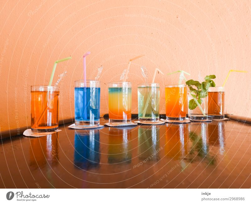 Cuban cocktails Beverage Cold drink Alcoholic drinks Longdrink Cocktail Glass Straw Deserted Counter Authentic Simple Multicoloured Row Colour photo