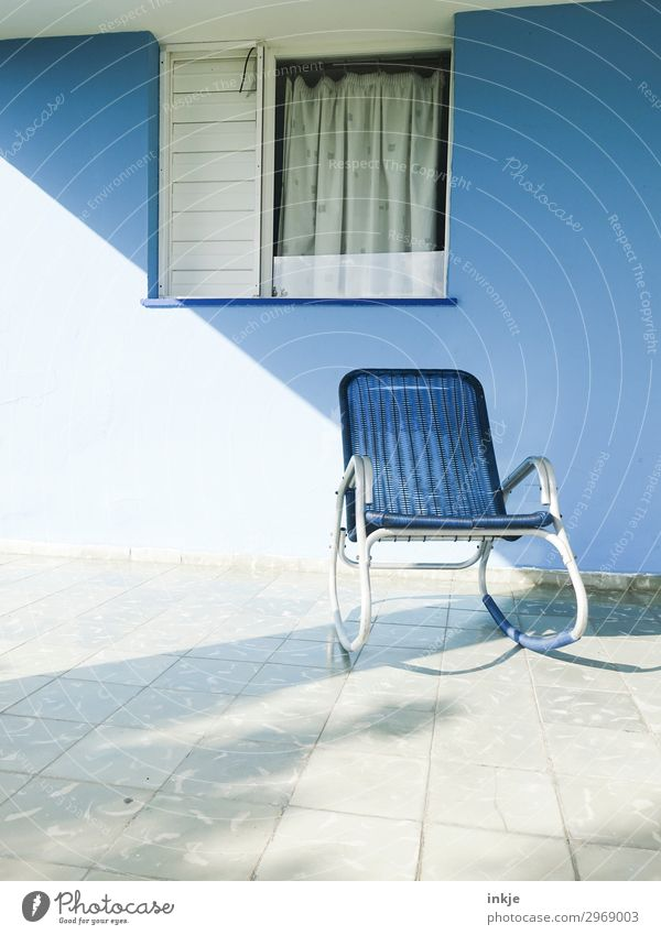 Cuban terrace Deserted House (Residential Structure) Facade Terrace Window Rocking chair Chair Curtain Authentic Simple Blue White Break Colour photo