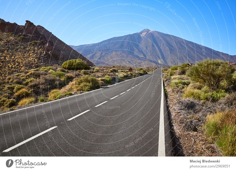 Scenic road with Mount Teide in background, Tenerife, Spain. Vacation & Travel Tourism Trip Adventure Far-off places Freedom Expedition Cycling tour Summer Sun