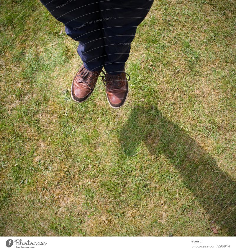 hovering trick Legs Feet 1 Human being Earth Grass Meadow Flying Jump Ease Joy magic trick Illusion Trick Funny Colour photo Exterior shot Day Bird's-eye view