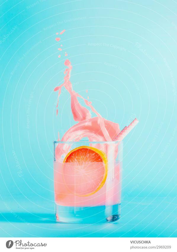 Summer drink in a glass on a blue background Food Fruit Beverage Drinking water Lemonade Juice Longdrink Cocktail Glass Style Design Healthy Eating Bar