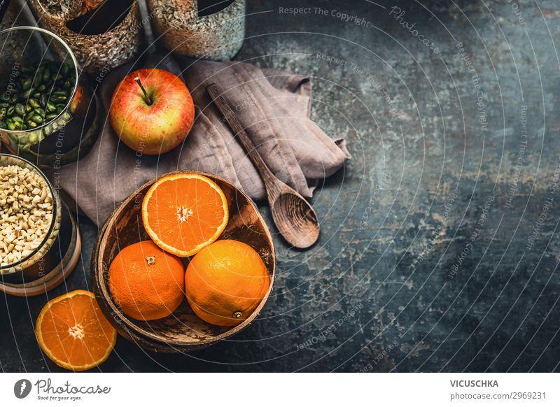 Healthy breakfast ingredients Food Apple Orange Grain Nutrition Breakfast Crockery Style Healthy Eating Living or residing Table Fitness Design healthy