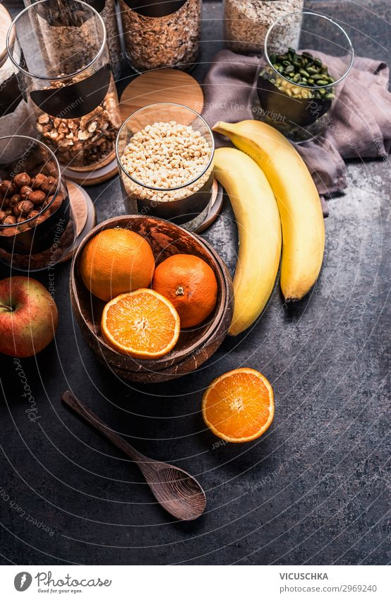 Healthy ingredients for fitness breakfast Food Fruit Apple Orange Grain Nutrition Breakfast Shopping Style Design Healthy Eating Fitness Sports Training