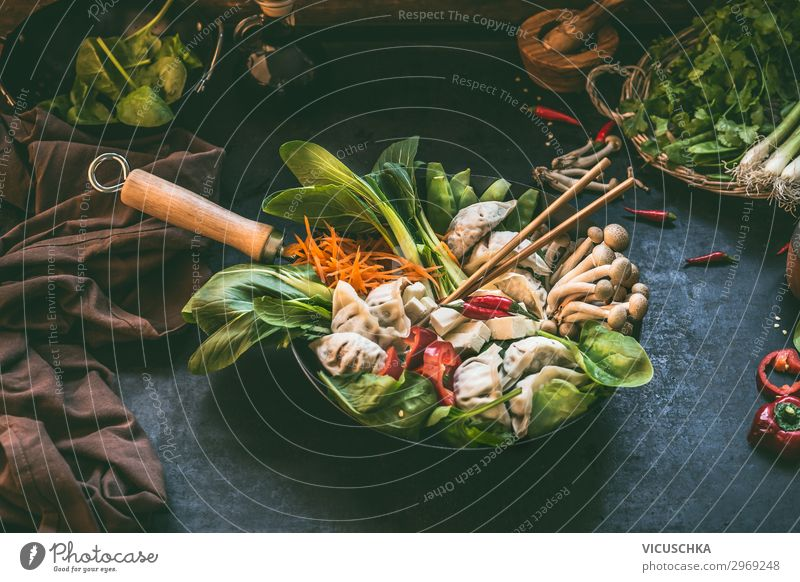 Asian cuisine. Korean stew Food Vegetable Soup Stew Herbs and spices Nutrition Lunch Organic produce Vegetarian diet Diet Slow food Asian Food Crockery Pot Pan