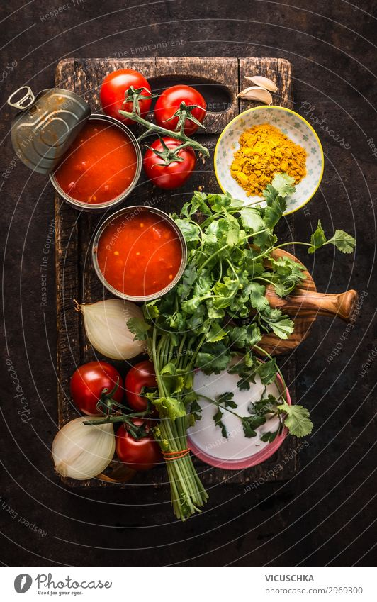 Fresh ingredients for tomato soup Food Vegetable Nutrition Lunch Crockery Design Healthy Eating Life Table Kitchen Restaurant Cooking Ingredients Tomato soup