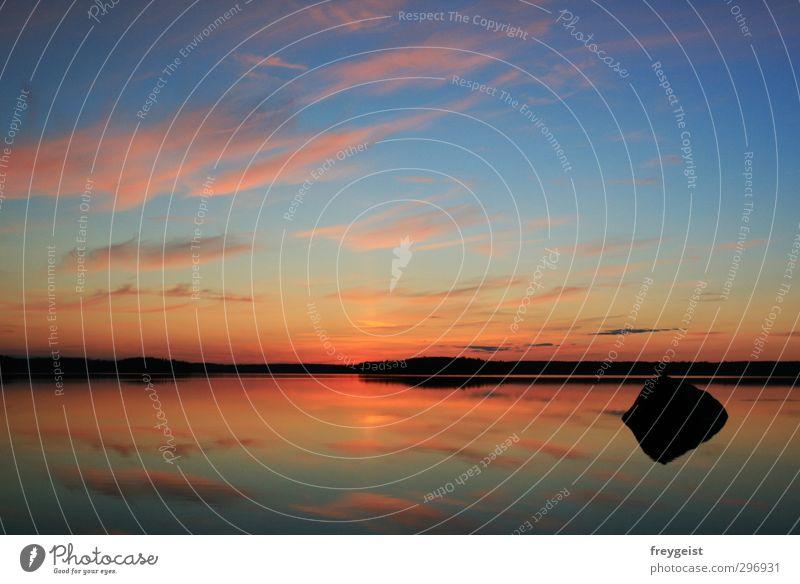 silence Nature Water Sky Horizon Sunrise Sunset Summer Lake Calm Freedom Multicoloured Exterior shot Deserted Twilight