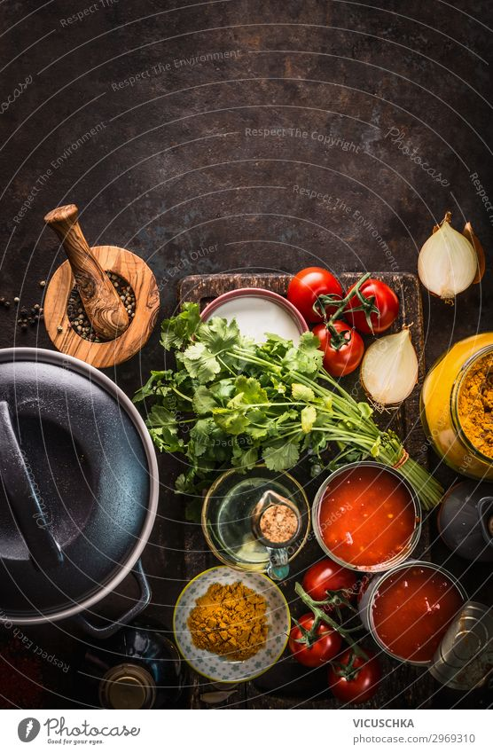 Cooking with fresh ingredients Food Vegetable Soup Stew Herbs and spices Cooking oil Nutrition Organic produce Vegetarian diet Diet Crockery Pot Style Design