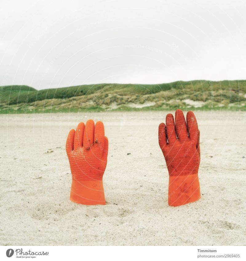 Give me your hand, my life... Vacation & Travel Environment Nature Coast North Sea Denmark Gloves Gray Green Orange Emotions Sand Irritation Beach dune