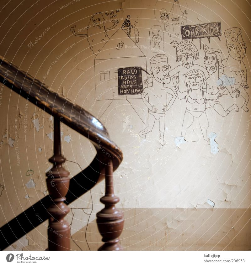 Human being House (Residential Structure) Graffiti Wall (building) Wall (barrier) Group Feasts & Celebrations Body Stairs Signs and labeling Anger Banister