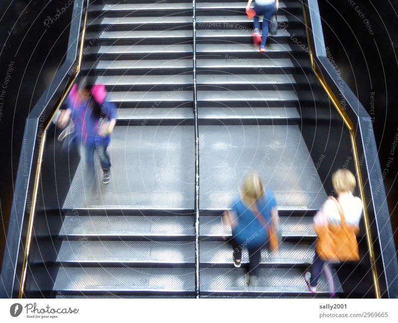Holterdipolter up and down... Human being Stairs Running Movement Walking Speed Town Stress Nerviness Effort Metal steps Rush hour Haste bustling Business