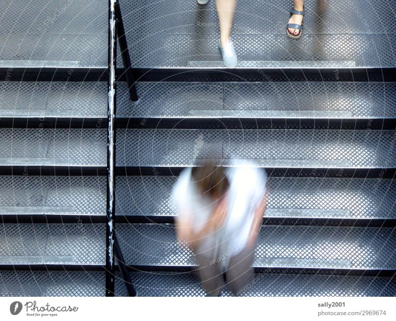 rush hour... Human being 3 Stairs Running Movement Together Speed Gloomy Town Gray Stress Nerviness Business Resolve Modern Lanes & trails Time Downward