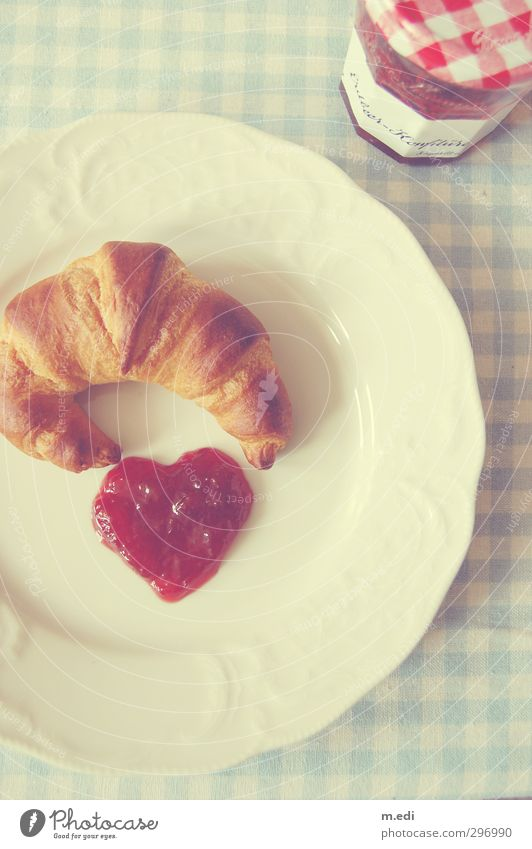 Beautiful Red Bright Sweet Breakfast Baked goods Dough Jam Croissant