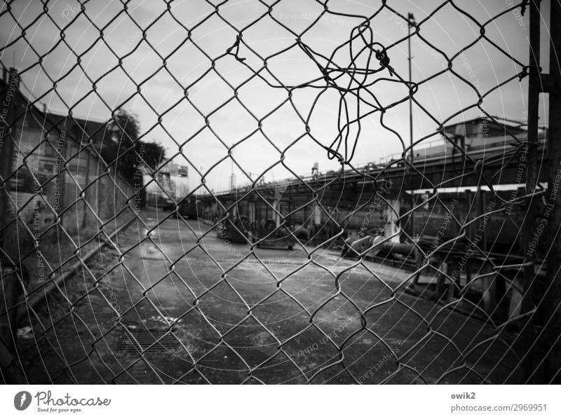 bankruptcy Clouds Fence Barrier Wire netting Wire netting fence Closed Dark Gloomy Sadness Concern Grief Fatigue Pain Disappointment Guilty Distress Stagnating
