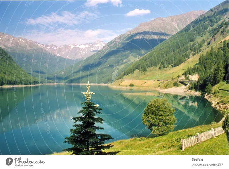Sky Tree Mountain Lake Alps Fir tree Reservoir South Tyrol