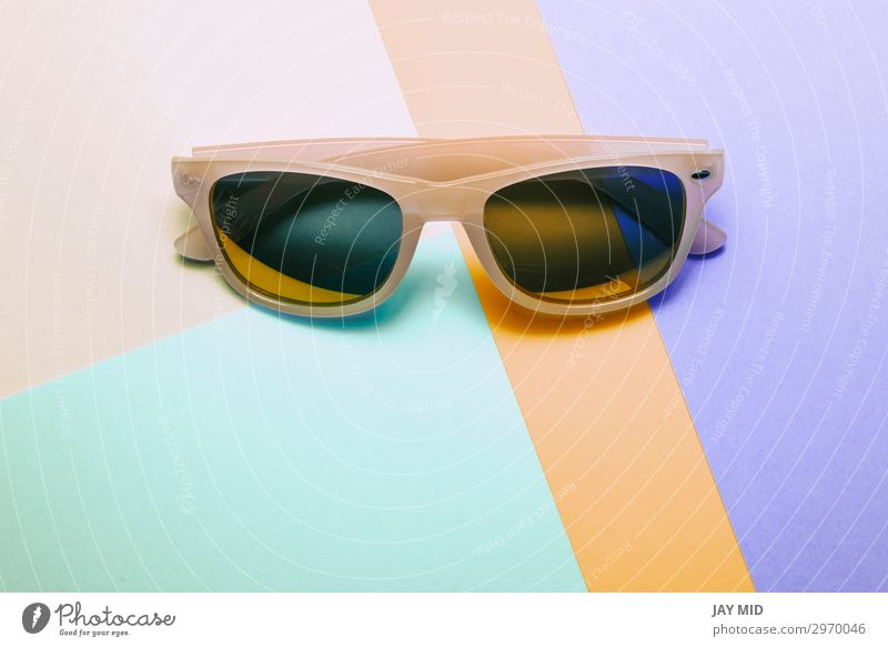 sunglasses on pastel multicolor trendy background Style Design Joy Relaxation Summer Sun Beach Art Fashion Accessory Eyeglasses Sunglasses Plastic Bright