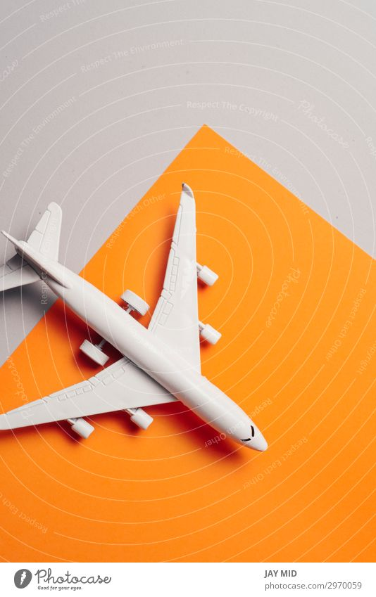jet airplane travel concept, minimal art, orange background Design Life Vacation & Travel Tourism Trip Summer Business Art Sky Transport Aviation Airplane