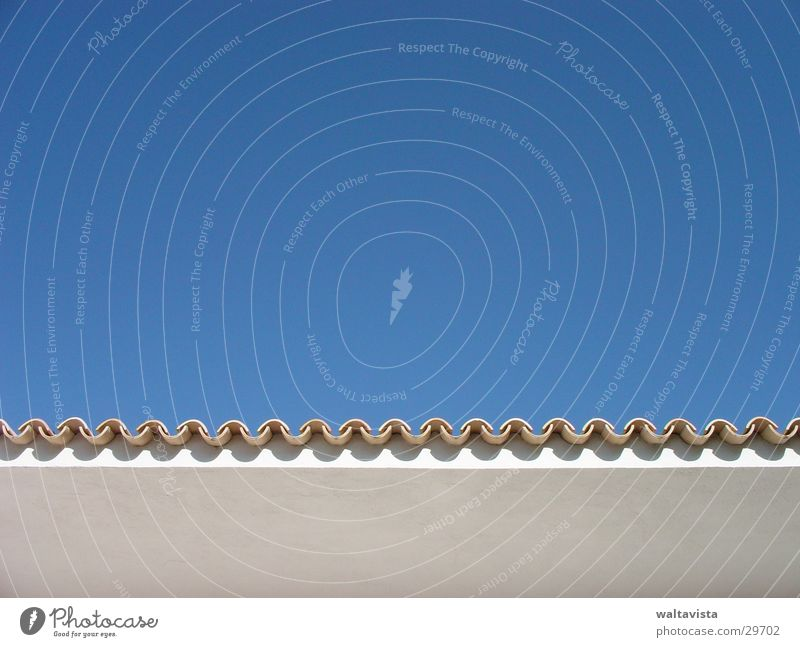 Sky Blue Architecture Corner Roof Spain Beautiful weather Roofing tile