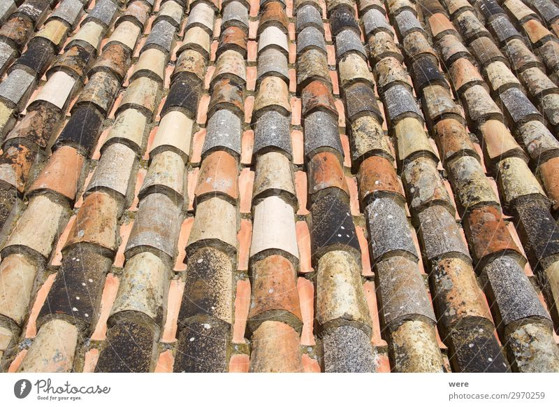 Historical clay roof tiles in laying style monk and now Old town Roof Esthetic Protection Time Alcàzar Andalusia spain Tarifa building copy space historical