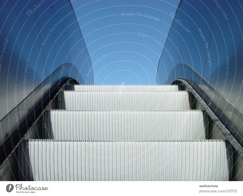 escalator Escalator Glittering Reflection Architecture Metal Blue Sky Underground