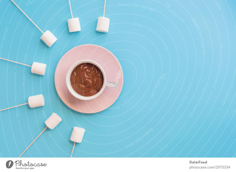 Marshmallows with chocolate in a beatiful background Dessert Nutrition Breakfast Diet Plate Beautiful Decoration Table Leaf Fresh Delicious Brown Pink Black
