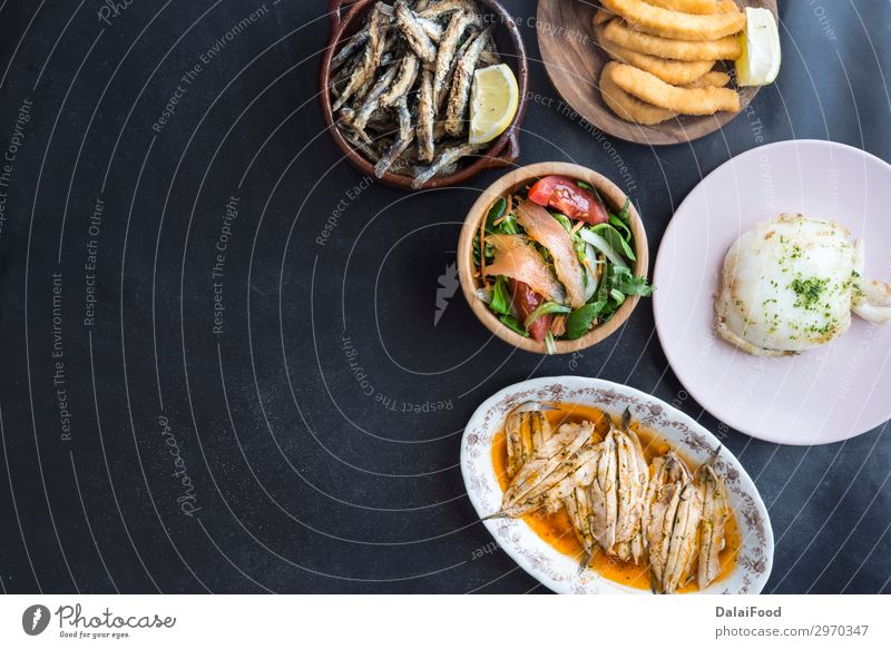 Typicals fish food in spain (tapas) Meat Seafood Lunch Dinner Diet Plate Ocean Decoration Restaurant Fresh White anchoviy appetizer background Cooking Frying