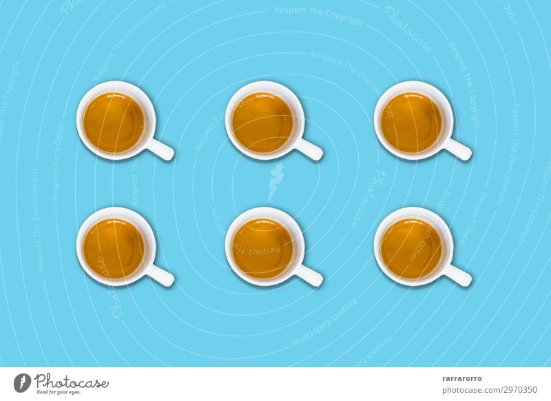 group of coffee cups on a light blue pastel table Breakfast Beverage Coffee Espresso Lifestyle Design Summer Table Group Aircraft Fashion Fresh Hot Bright