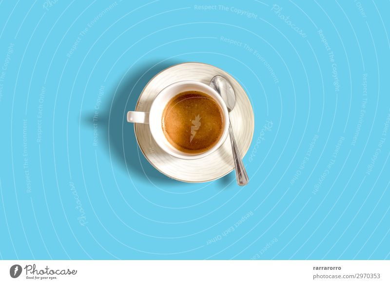 minimalist top view of a coffee cup on a light blue pastel table Breakfast Beverage Coffee Espresso Lifestyle Design Beautiful Summer Table Aircraft Fashion