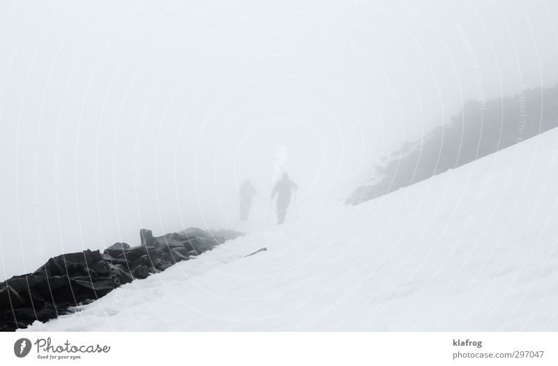 Human being Nature White Calm Winter Mountain Cold Snow Freedom Above Together Ice Wind Wild Climate Fog