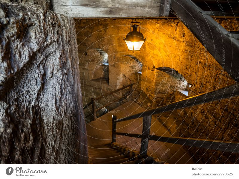 Staircase in a historic castle. Lifestyle Style Design Vacation & Travel Tourism Trip Sightseeing City trip Interior design Lamp Workplace Art Architecture
