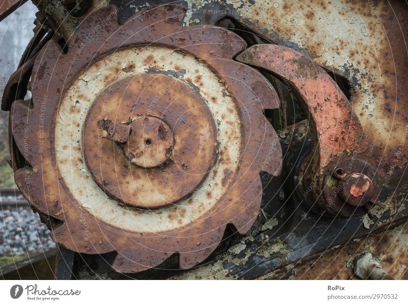 Blocking gear of a historic winch. Nature Old Lifestyle Environment Style Business Work and employment Metal Transport Energy industry Technology Authentic
