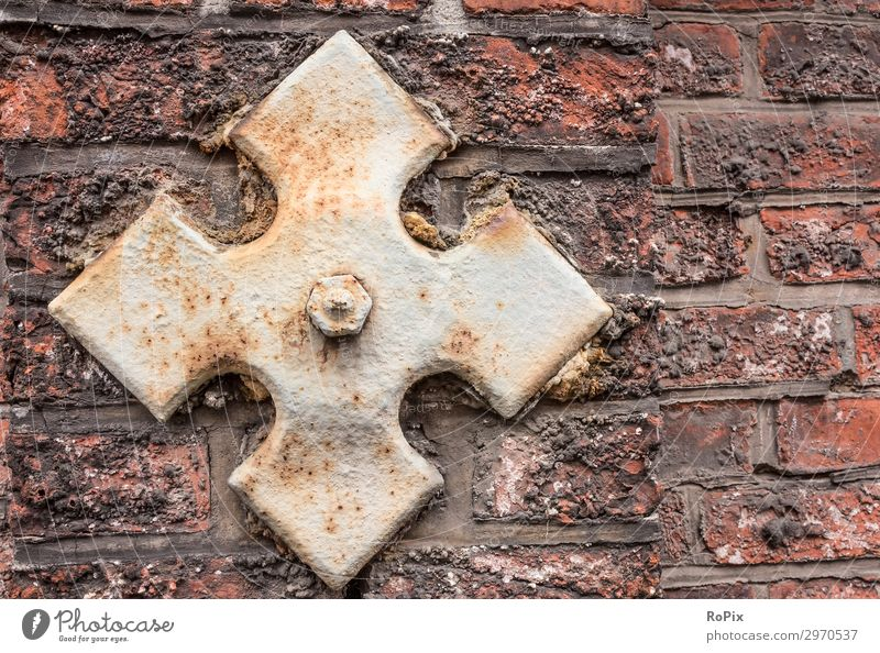 Detail of a historical wall. Wall (barrier) wall anchor Wall (building) rampart brick Sandstone Architecture House (Residential Structure) house wall Town urban
