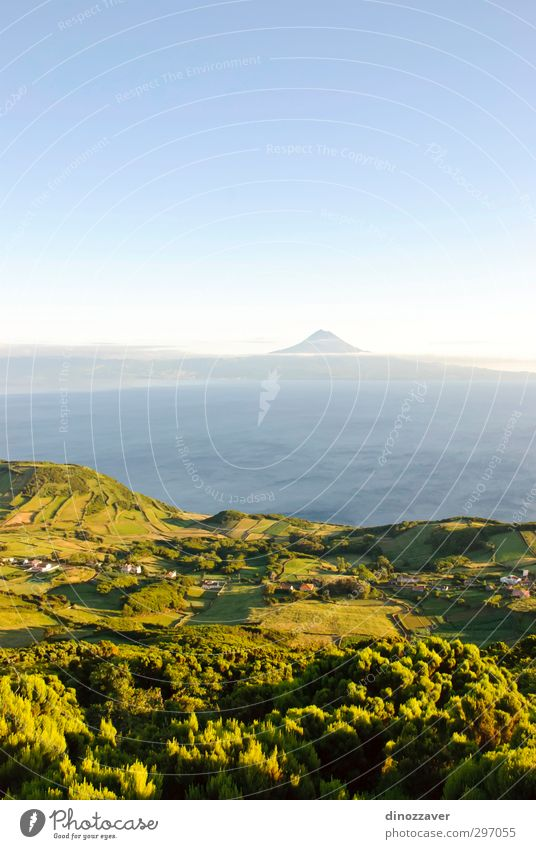 Azores island Beautiful Ocean Island Mountain House (Residential Structure) Environment Nature Landscape Sky Summer Meadow Peak Volcano Coast Natural Blue Green