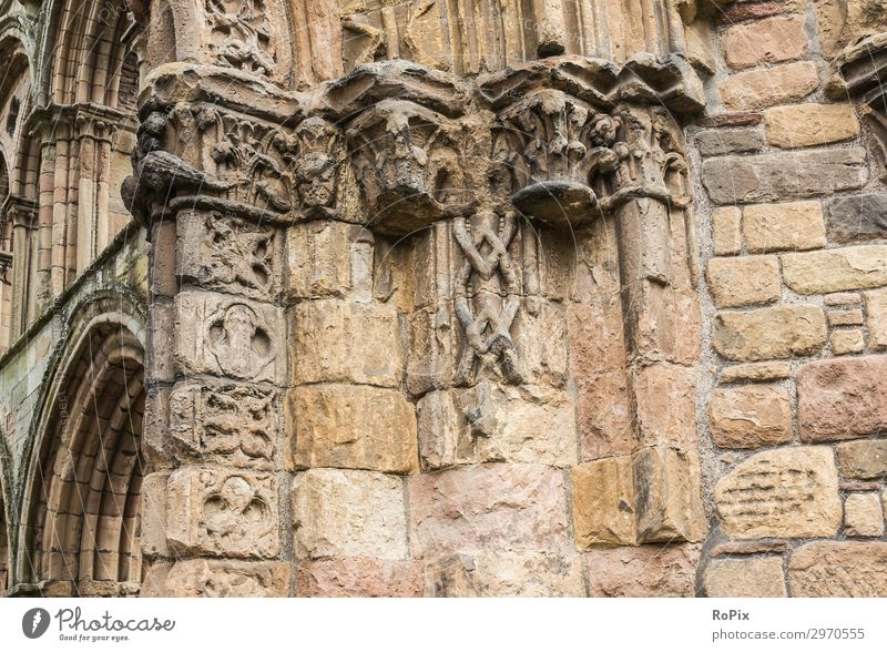Architectural detail of Jedburgh Abbey in the Scottish borders. cloister monasteries Architecture Culture Church Monastery chruch built Belief sacral