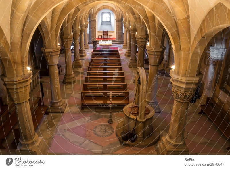 Crypt of a historical cathedral. Vault Park crypt arches abbey monasteries built Church columns Gothic period Gothic style Architecture sacral building
