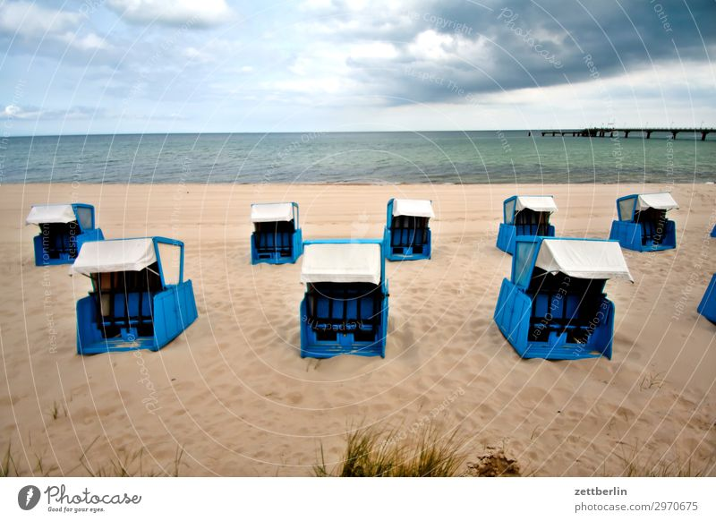 Beach chairs at the beach Vacation & Travel Island Coast Mecklenburg-Western Pomerania Ocean good for the monk Nature Baltic Sea Baltic island