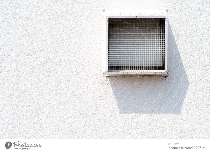 Ventilation grille casts shadows House (Residential Structure) Architecture Facade Sharp-edged Simple White Symmetry ventilation grille facade detail Square