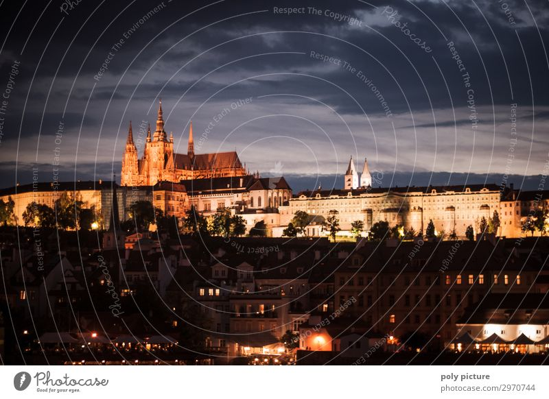 Prague Castle at night Vacation & Travel Tourism Trip Sightseeing City trip Summer vacation Culture Capital city Downtown Old town Manmade structures