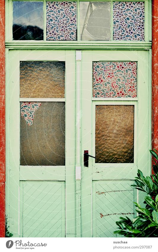 somewhere in a Window Door Old Poverty Broken Multicoloured Decline Transience Change Living or residing forsake sb./sth. Lonely Colour photo Exterior shot