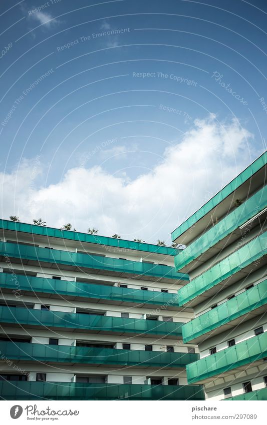 Living better IV Town House (Residential Structure) High-rise Manmade structures Architecture Facade Balcony Blue Green Tower block Colour photo Exterior shot