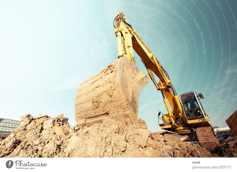 At the excavator hole Work and employment Workplace Construction site Industry Services SME Environment Elements Earth Sky Beautiful weather Metal Blue Brown