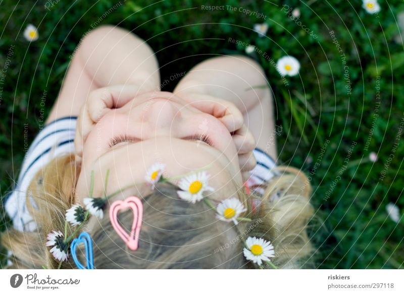 Human being Child Nature Summer Girl Joy Flower Relaxation Environment Meadow Warmth Feminine Spring Happy Think Garden
