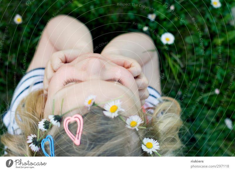 Human being Child Nature Summer Girl Joy Flower Relaxation Environment Meadow Warmth Feminine Spring Happy Think Garden