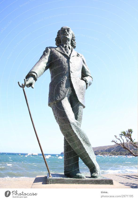 Catalan weather defiance (II) Masculine Man Adults 1 Human being Art Artist Sculpture Sky Horizon Beautiful weather Coast Beach Ocean Mediterranean sea Cadaques