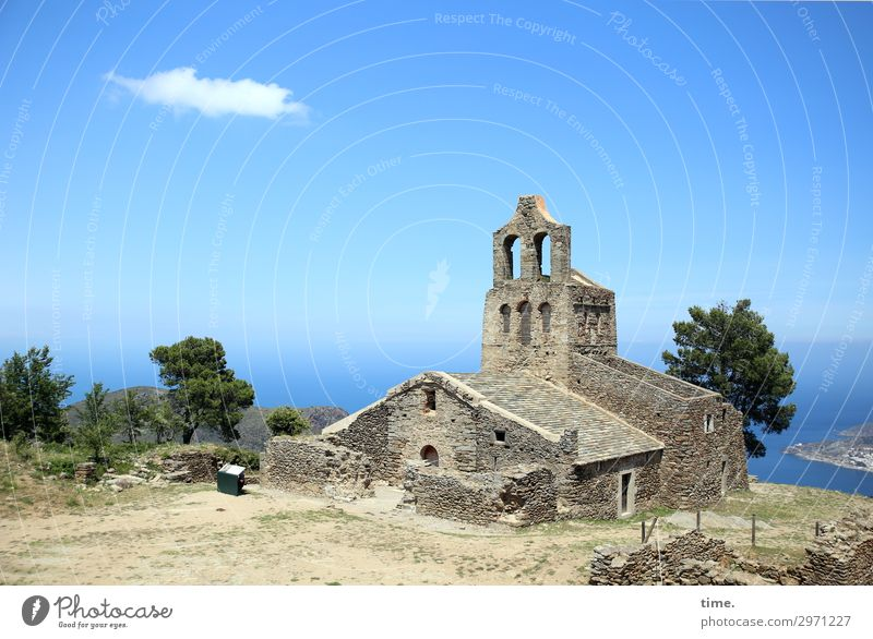 very lost holy place Sky Clouds Horizon Beautiful weather Tree Coast Ocean Catalonia Church Ruin Architecture Wall (barrier) Wall (building) Tourist Attraction