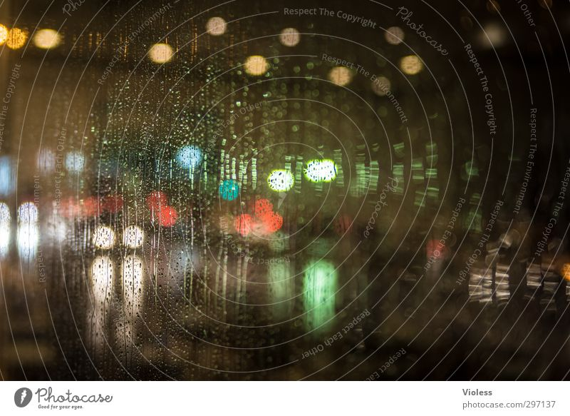 surprise dubai Light Rain Rainwater Storm Night Shallow depth of field Blur Wet Comfortless Reflection Window Window pane